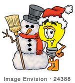 #24388 Clip Art Graphic Of A Yellow Electric Lightbulb Cartoon Character With A Snowman On Christmas