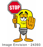 #24393 Clip Art Graphic Of A Yellow Electric Lightbulb Cartoon Character Holding A Stop Sign