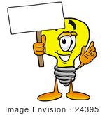 #24395 Clip Art Graphic Of A Yellow Electric Lightbulb Cartoon Character Holding A Blank Sign
