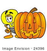 #24396 Clip Art Graphic Of A Yellow Electric Lightbulb Cartoon Character With A Carved Halloween Pumpkin