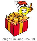 #24399 Clip Art Graphic Of A Yellow Electric Lightbulb Cartoon Character Standing By A Christmas Present