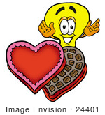 #24401 Clip Art Graphic Of A Yellow Electric Lightbulb Cartoon Character With An Open Box Of Valentines Day Chocolate Candies
