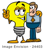 #24403 Clip Art Graphic Of A Yellow Electric Lightbulb Cartoon Character Talking To A Business Man