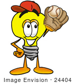 #24404 Clip Art Graphic Of A Yellow Electric Lightbulb Cartoon Character Catching A Baseball With A Glove