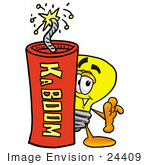 #24409 Clip Art Graphic Of A Yellow Electric Lightbulb Cartoon Character Standing With A Lit Stick Of Dynamite