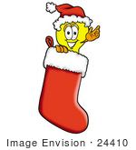 #24410 Clip Art Graphic Of A Yellow Electric Lightbulb Cartoon Character Wearing A Santa Hat Inside A Red Christmas Stocking
