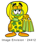 #24412 Clip Art Graphic Of A Yellow Electric Lightbulb Cartoon Character In Green And Yellow Snorkel Gear