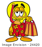 #24420 Clip Art Graphic Of A Yellow Electric Lightbulb Cartoon Character In Orange And Red Snorkel Gear