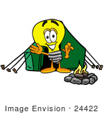 #24422 Clip Art Graphic Of A Yellow Electric Lightbulb Cartoon Character Camping With A Tent And Fire