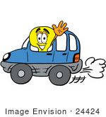 #24424 Clip Art Graphic Of A Yellow Electric Lightbulb Cartoon Character Driving A Blue Car And Waving