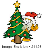 #24426 Clip Art Graphic Of A White Electrical Light Switch Cartoon Character Waving And Standing By A Decorated Christmas Tree