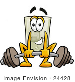 #24428 Clip Art Graphic of a White Electrical Light Switch Cartoon Character Lifting a Heavy Barbell by toons4biz