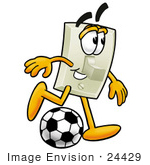 #24429 Clip Art Graphic Of A White Electrical Light Switch Cartoon Character Kicking A Soccer Ball