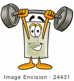 #24431 Clip Art Graphic Of A White Electrical Light Switch Cartoon Character Holding A Heavy Barbell Above His Head