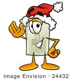 #24432 Clip Art Graphic Of A White Electrical Light Switch Cartoon Character Wearing A Santa Hat And Waving