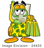 #24433 Clip Art Graphic Of A White Electrical Light Switch Cartoon Character In Green And Yellow Snorkel Gear