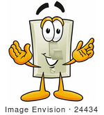 #24434 Clip Art Graphic Of A White Electrical Light Switch Cartoon Character With Welcoming Open Arms
