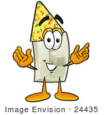 #24435 Clip Art Graphic Of A White Electrical Light Switch Cartoon Character Wearing A Birthday Party Hat