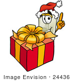 #24436 Clip Art Graphic Of A White Electrical Light Switch Cartoon Character Standing By A Christmas Present