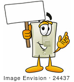 #24437 Clip Art Graphic Of A White Electrical Light Switch Cartoon Character Holding A Blank Sign