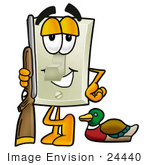 #24440 Clip Art Graphic Of A White Electrical Light Switch Cartoon Character Duck Hunting Standing With A Rifle And Duck
