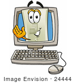 #24444 Clip Art Graphic Of A White Electrical Light Switch Cartoon Character Waving From Inside A Computer Screen