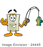 #24445 Clip Art Graphic Of A White Electrical Light Switch Cartoon Character Holding A Fish On A Fishing Pole