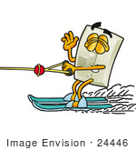 #24446 Clip Art Graphic Of A White Electrical Light Switch Cartoon Character Waving While Water Skiing