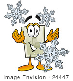 #24447 Clip Art Graphic Of A White Electrical Light Switch Cartoon Character With Three Snowflakes In Winter