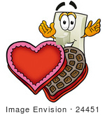 #24451 Clip Art Graphic Of A White Electrical Light Switch Cartoon Character With An Open Box Of Valentines Day Chocolate Candies
