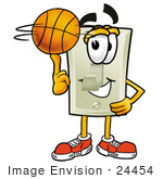 #24454 Clip Art Graphic Of A White Electrical Light Switch Cartoon Character Spinning A Basketball On His Finger