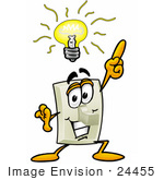 #24455 Clip Art Graphic Of A White Electrical Light Switch Cartoon Character With A Bright Idea