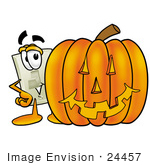 #24457 Clip Art Graphic Of A White Electrical Light Switch Cartoon Character With A Carved Halloween Pumpkin