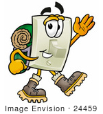 #24459 Clip Art Graphic Of A White Electrical Light Switch Cartoon Character Hiking And Carrying A Backpack
