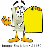 #24460 Clip Art Graphic Of A White Electrical Light Switch Cartoon Character Holding A Yellow Sales Price Tag