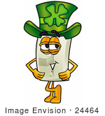 #24464 Clip Art Graphic Of A White Electrical Light Switch Cartoon Character Wearing A Saint Patricks Day Hat With A Clover On It