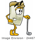 #24467 Clip Art Graphic Of A White Electrical Light Switch Cartoon Character Leaning On A Golf Club While Golfing