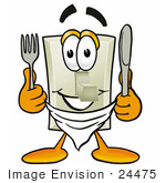 #24475 Clip Art Graphic Of A White Electrical Light Switch Cartoon Character Holding A Knife And Fork