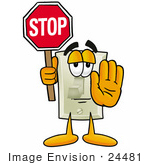 #24481 Clip Art Graphic Of A White Electrical Light Switch Cartoon Character Holding A Stop Sign