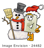 #24482 Clip Art Graphic Of A White Electrical Light Switch Cartoon Character With A Snowman On Christmas