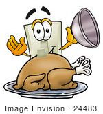 #24483 Clip Art Graphic Of A White Electrical Light Switch Cartoon Character Serving A Thanksgiving Turkey On A Platter