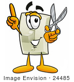 #24485 Clip Art Graphic Of A White Electrical Light Switch Cartoon Character Holding A Pair Of Scissors