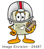 #24487 Clip Art Graphic Of A White Electrical Light Switch Cartoon Character In A Helmet Holding A Football
