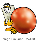 #24488 Clip Art Graphic Of A White Electrical Light Switch Cartoon Character Standing With A Christmas Bauble