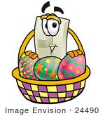 #24490 Clip Art Graphic Of A White Electrical Light Switch Cartoon Character In An Easter Basket Full Of Decorated Easter Eggs