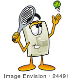 #24491 Clip Art Graphic Of A White Electrical Light Switch Cartoon Character Preparing To Hit A Tennis Ball