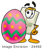 #24492 Clip Art Graphic Of A White Electrical Light Switch Cartoon Character Standing Beside An Easter Egg
