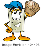 #24493 Clip Art Graphic Of A White Electrical Light Switch Cartoon Character Catching A Baseball With A Glove