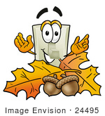#24495 Clip Art Graphic Of A White Electrical Light Switch Cartoon Character With Autumn Leaves And Acorns In The Fall