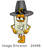 #24496 Clip Art Graphic Of A White Electrical Light Switch Cartoon Character Wearing A Pilgrim Hat On Thanksgiving
